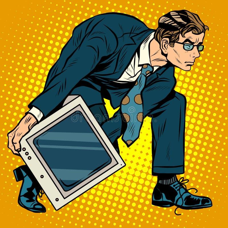 Homens da arma da tecnologia do computador ilustração stock