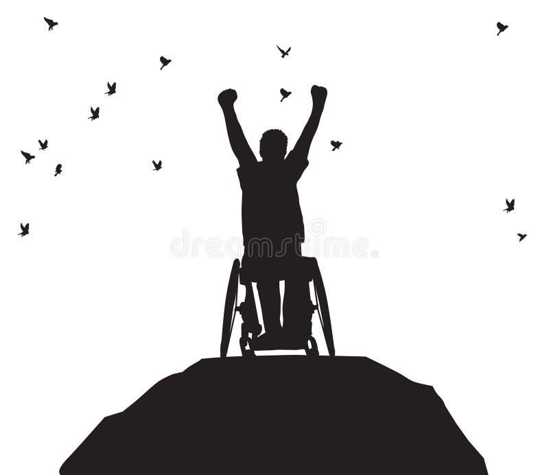 Homens da vitória da silhueta com o transporte inválido das inabilidades preto e branco ilustração royalty free