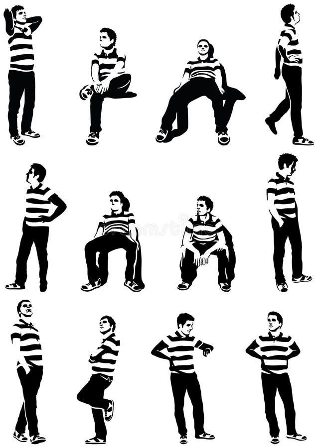 Homens de espera ilustração do vetor