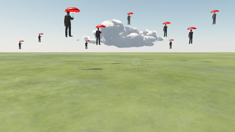 Homens de flutuação surreais ilustração do vetor