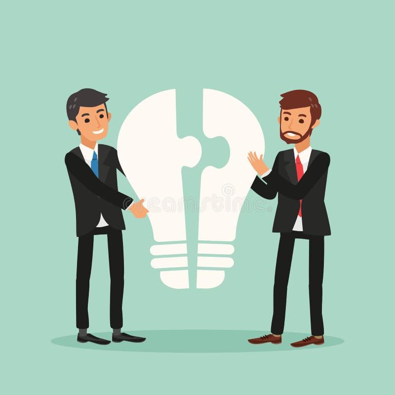 Homens de negócio da ideia e do conceito dos trabalhos de equipa com ampola e enigma de serra de vaivém ilustração royalty free