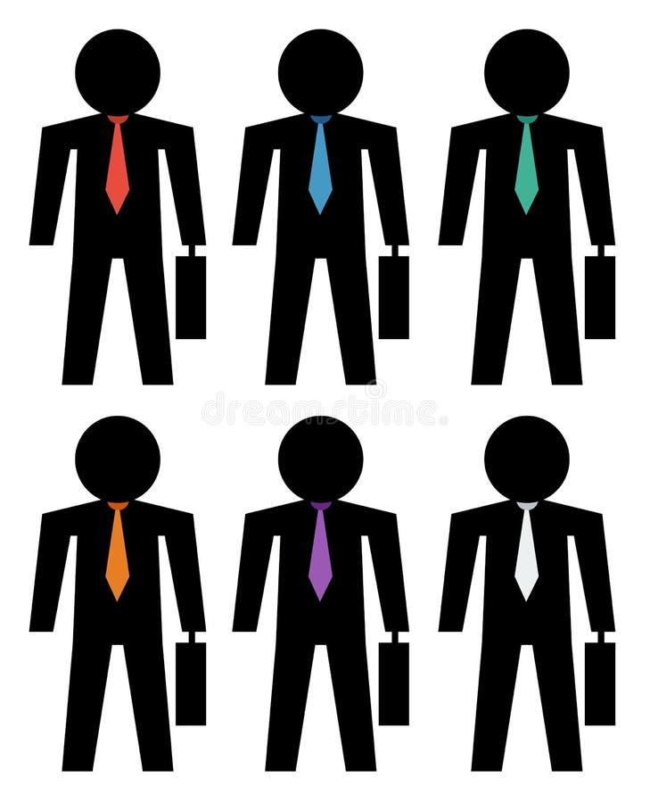 Homens de negócio da silhueta com ícones coloridos do laço ilustração stock