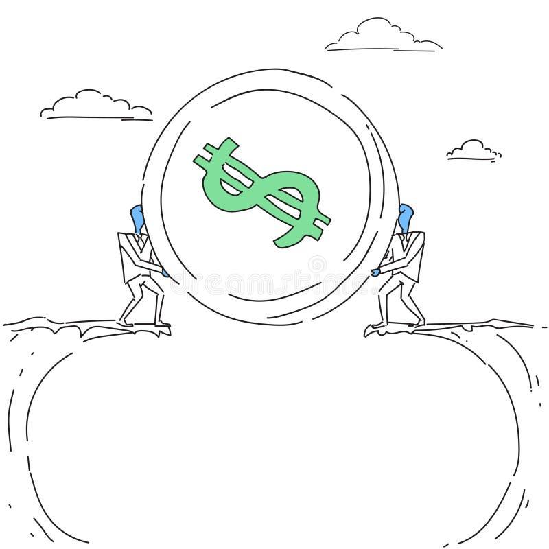 Homens de negócio que dão a moeda sobre a garatuja do conceito da cooperação de Cliff Gap Partners Teamwork Financial ilustração stock
