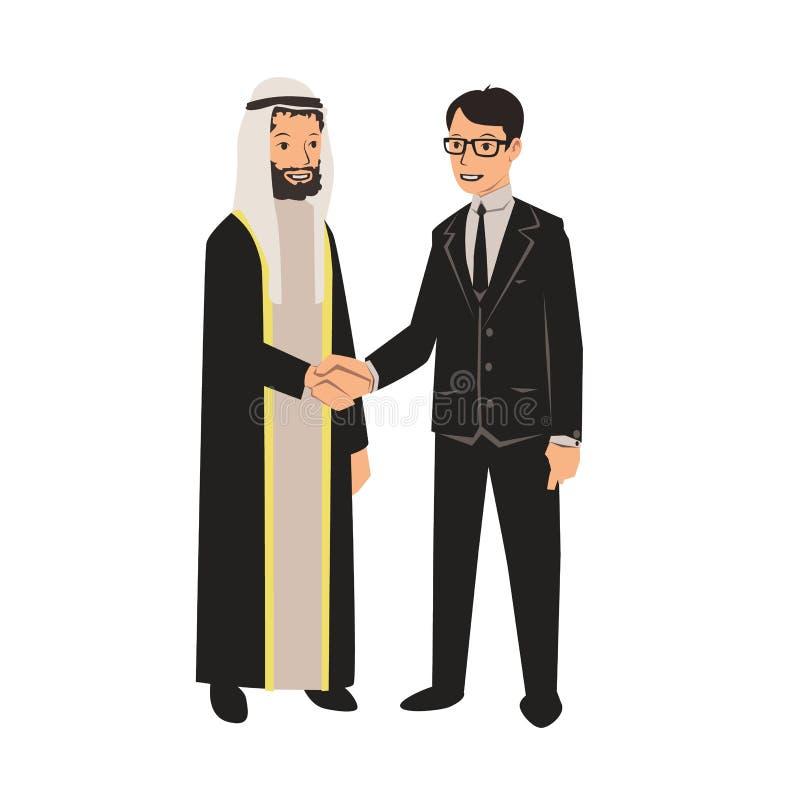 Homens de negócios árabes e europeus que agitam as mãos Reunião de negócios com sócios árabes Ilustração do vetor, isolada no bra ilustração stock