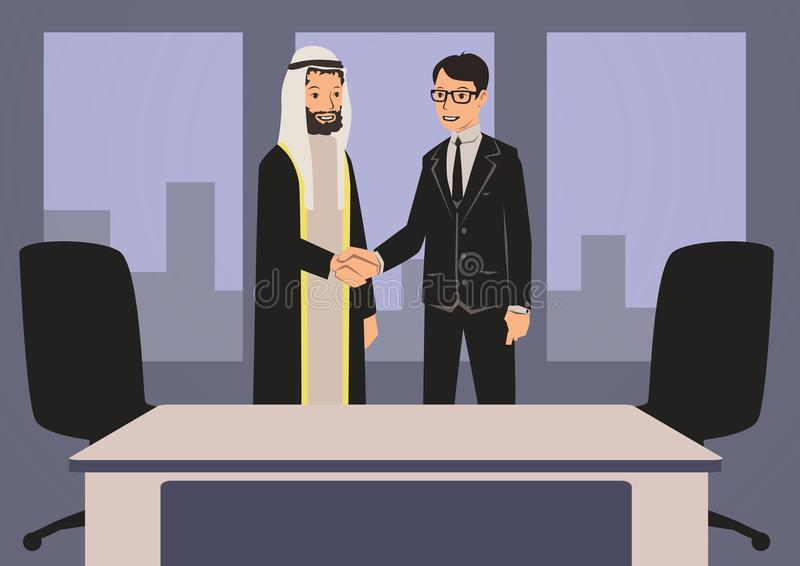 Homens de negócios árabes e europeus que agitam as mãos Reunião de negócios no escritório com sócios árabes Ilustração do vetor ilustração royalty free