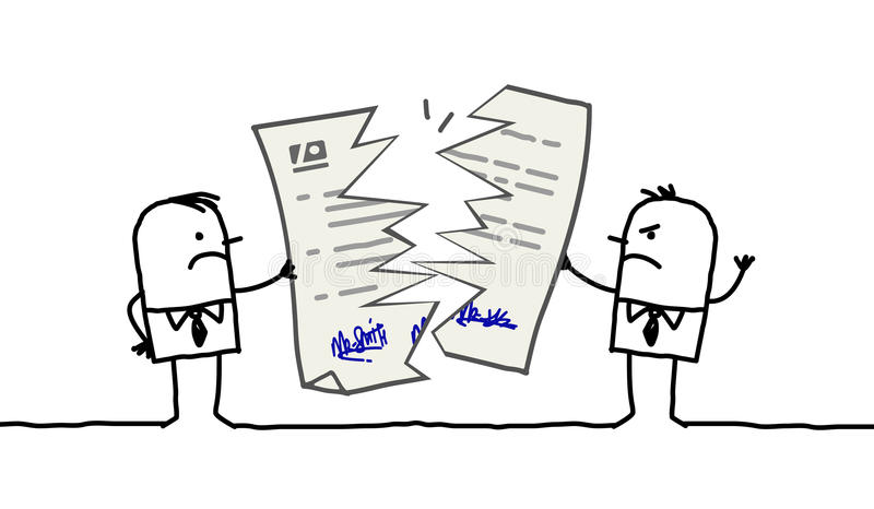 Homens de negócios & contrato quebrado ilustração stock