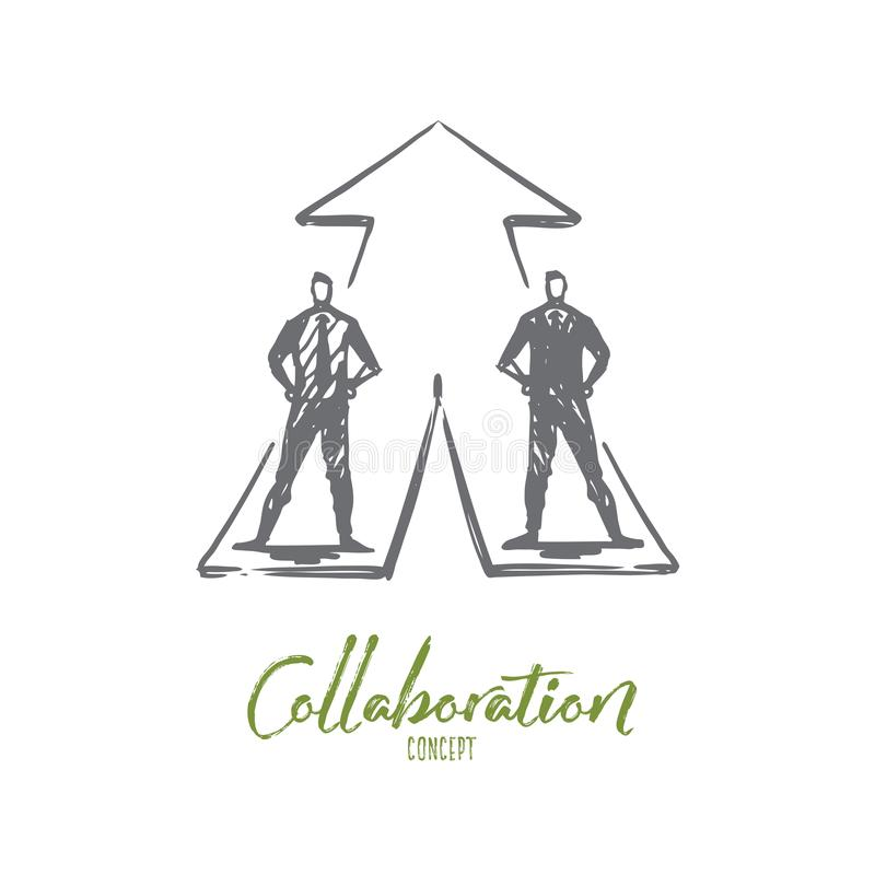 Homens de negócios, colaboração, estratégia, conceito da cooperação Vetor isolado tirado mão ilustração do vetor