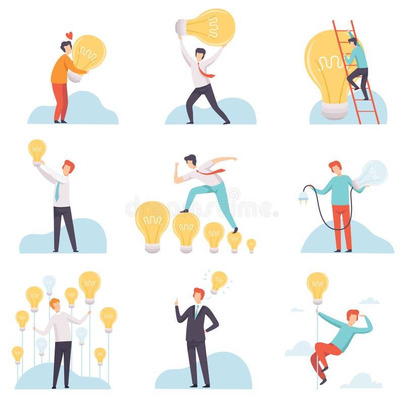 Homens de negócios com as ampolas de incandescência grupo, executivos que têm boas ideias, sessão de reflexão, inovação, criativa ilustração stock