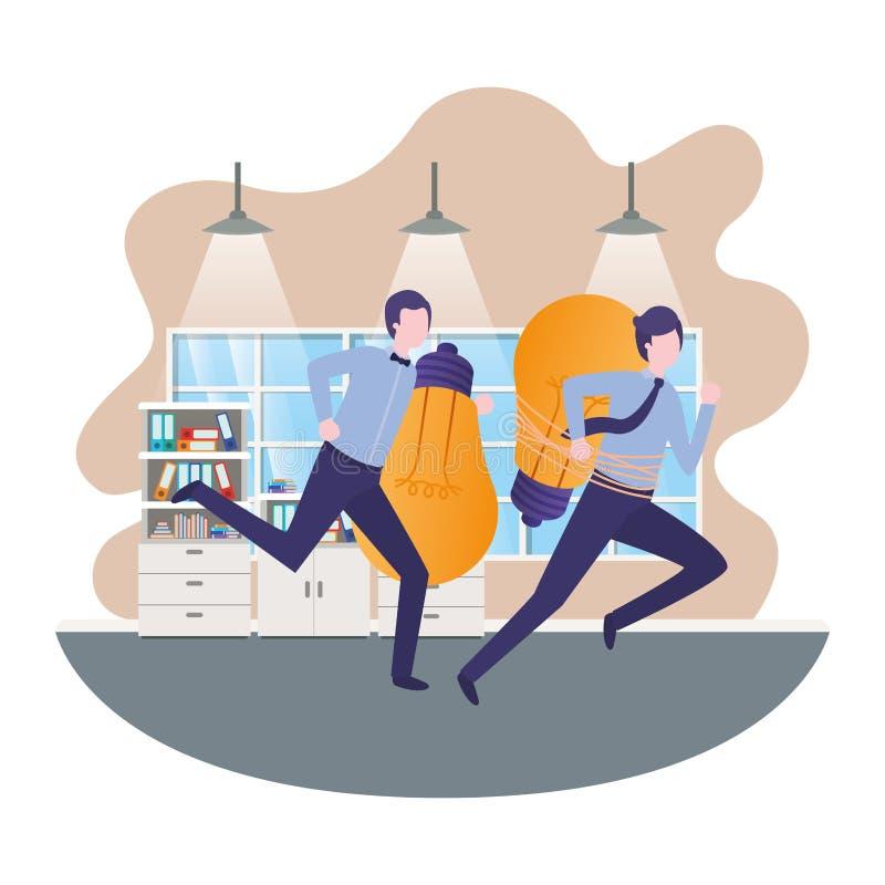 Homens de negócios com as ampolas na sala ilustração do vetor