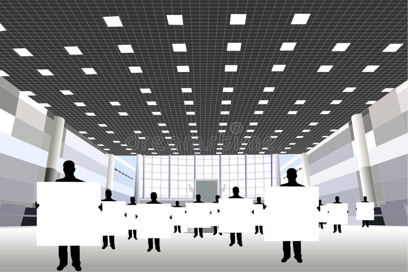Homens de negócios com placa no centro de negócios ilustração do vetor