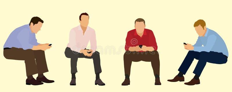 Homens de negócios de assento que usam telefones celulares ilustração do vetor