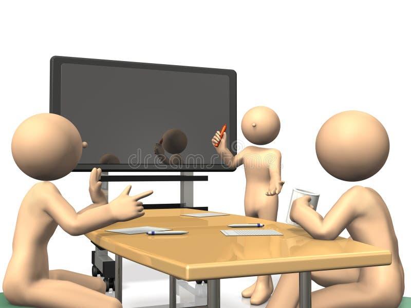 Homens de negócios a discutir na frente do quadro-negro eletrônico ilustração royalty free