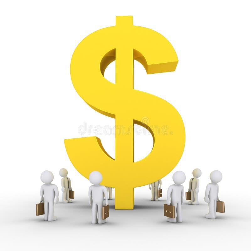 Homens de negócios e símbolo grande do dólar ilustração royalty free