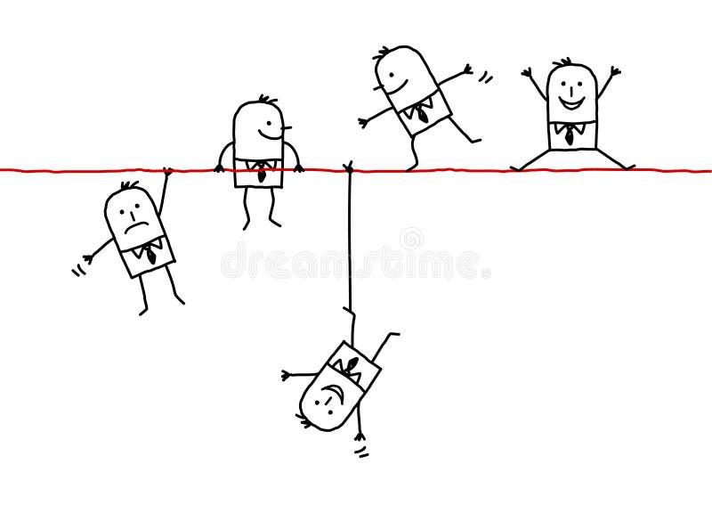 Homens de negócios em um fio ilustração do vetor
