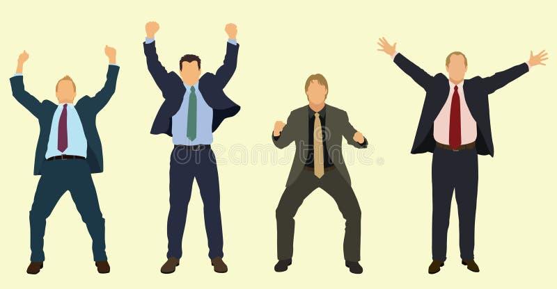 Homens de negócios felizes que comemoram ilustração royalty free