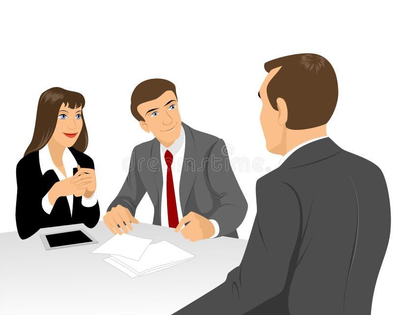 Homens de negócios na mesa de negócio ilustração do vetor