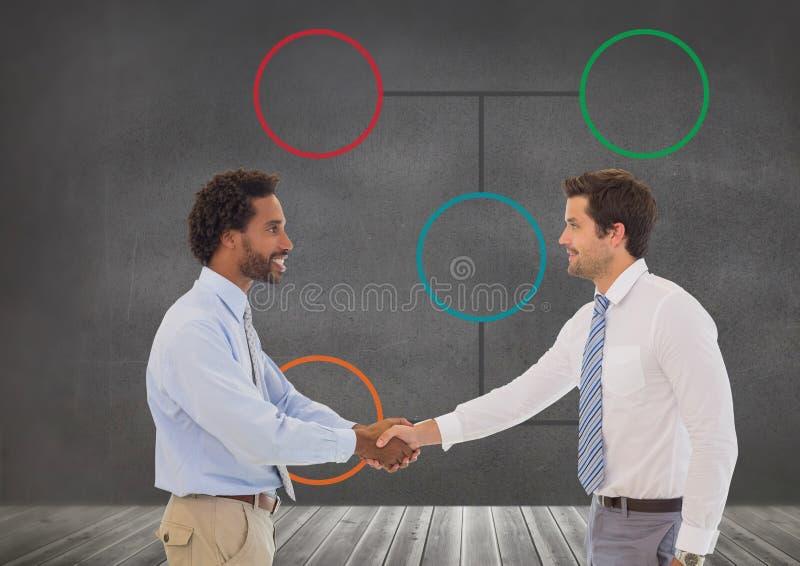 Homens de negócios que agitam as mãos com mapa de mente imagem de stock