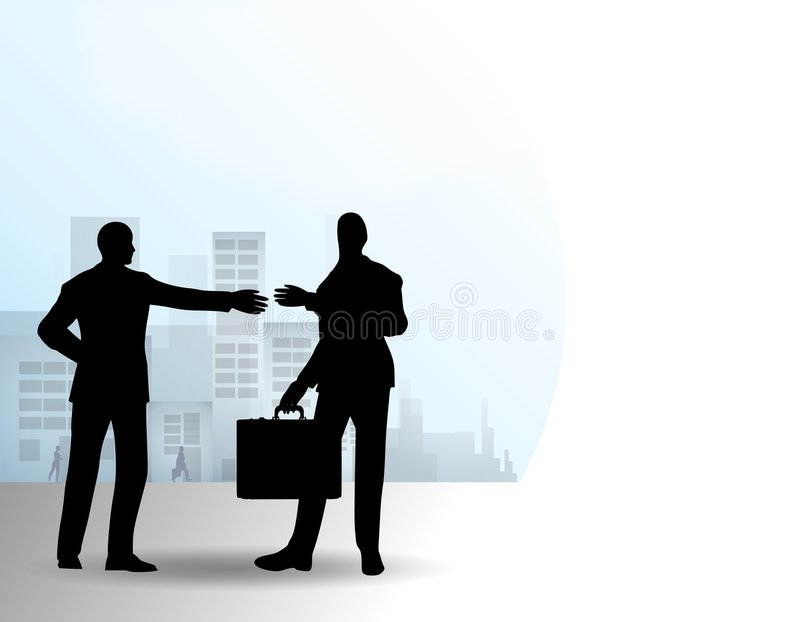 Homens de negócios que agitam as mãos na cidade ilustração stock
