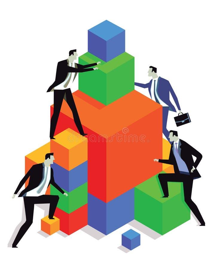 Homens de negócios que escalam cubos ilustração do vetor