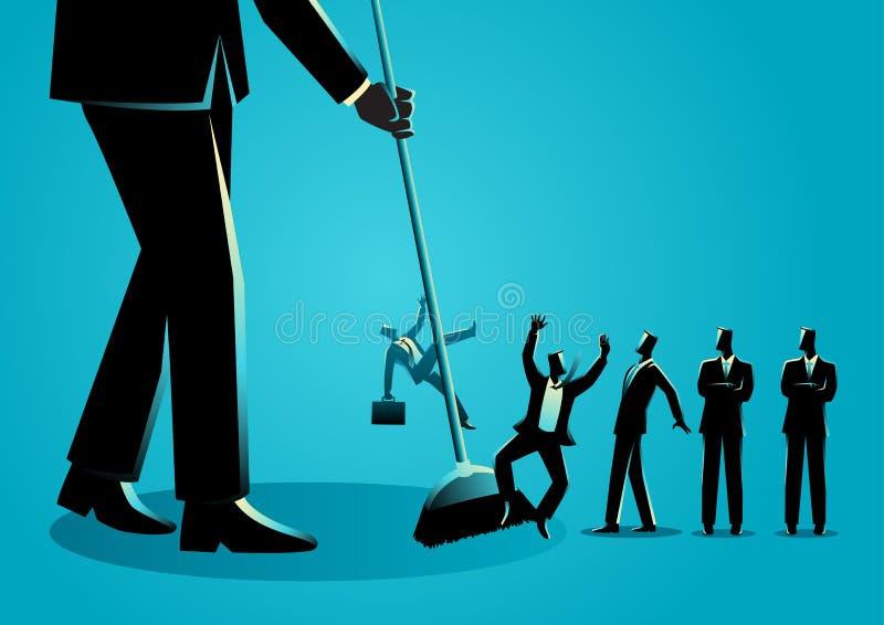 Homens de negócios que estão sendo varridos por uma vassoura ilustração do vetor