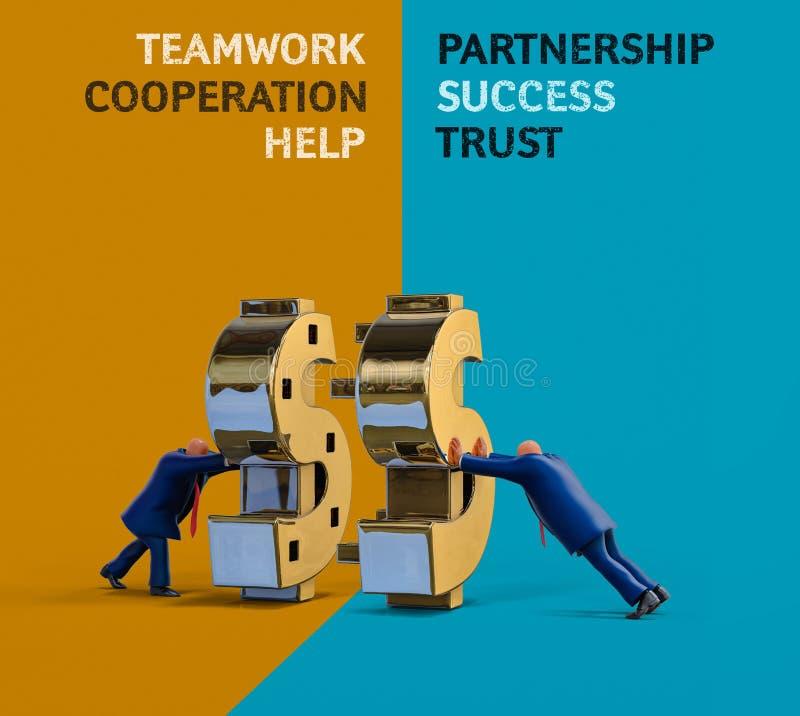 Homens de negócios que fazem o dinheiro na cooperação Ilustração do conceito do negócio ilustração stock