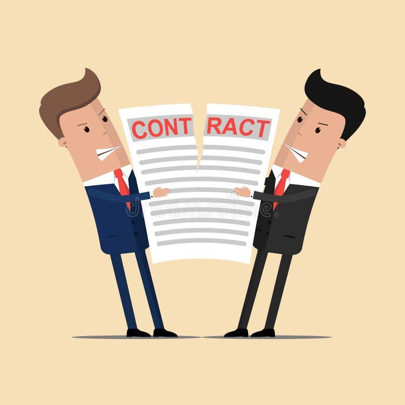 Homens de negócios que guardam um contrato rasgado Os homens de negócios quebram o contrato Negócio do fim Ilustração do vetor ilustração royalty free