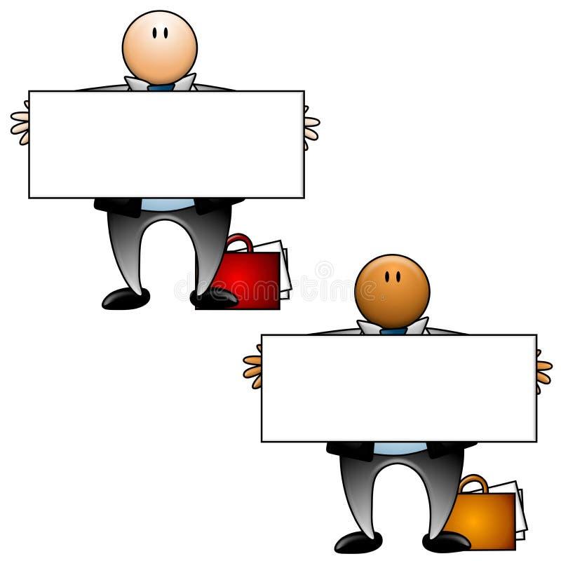 Homens de negócios que prendem sinais em branco ilustração royalty free
