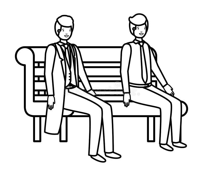 Homens de negócios que sentam-se no caráter do avatar da cadeira do parque ilustração do vetor