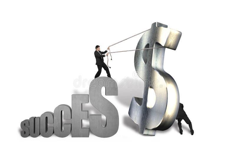 Homens de negócios que tentam estar o grande símbolo do dinheiro ao sucesso ilustração do vetor