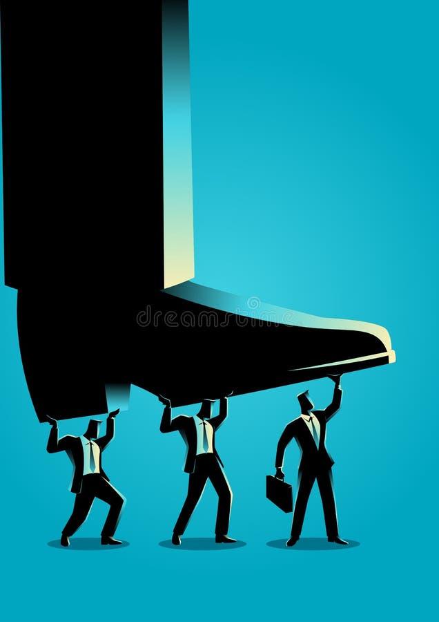 Homens de negócios que tentam levantar acima o pé gigante ilustração do vetor