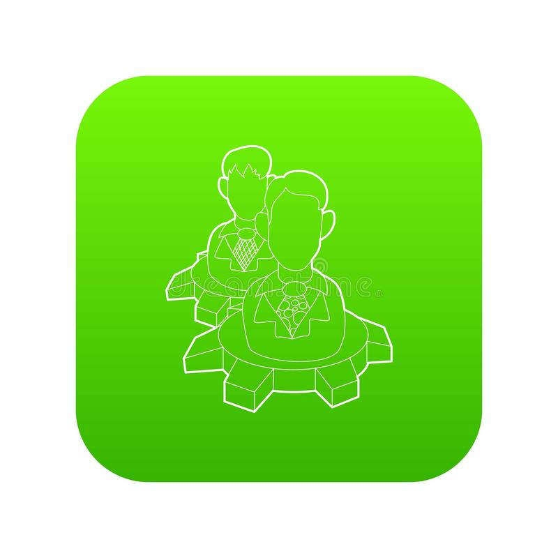Homens dentro do vetor do verde do ícone da roda de engrenagem ilustração royalty free