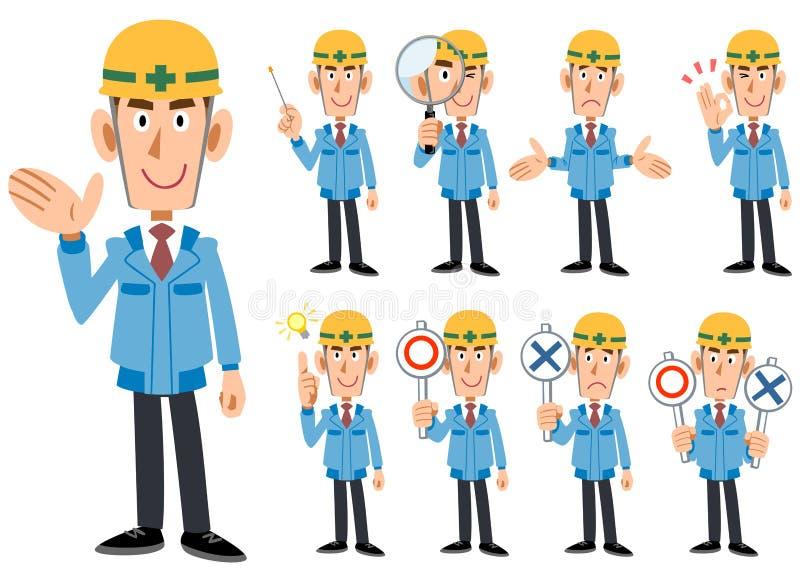 Homens do _da indústria da construção civil na roupa de funcionamento azul ilustração royalty free