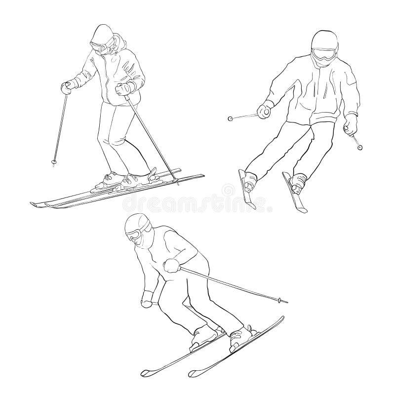 Homens do esqui do vetor ilustração royalty free