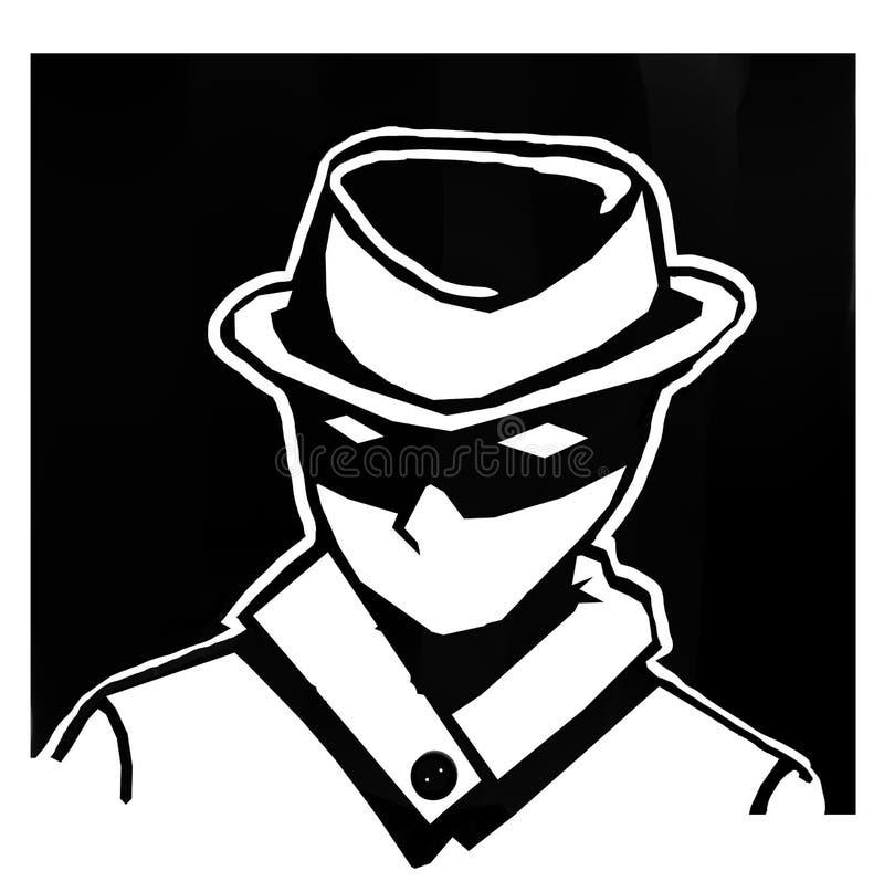 Homens do fundo do preto do espião com um chapéu misterioso ilustração do vetor