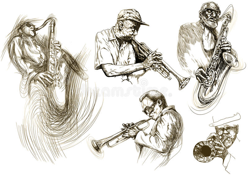 Homens do jazz ilustração royalty free
