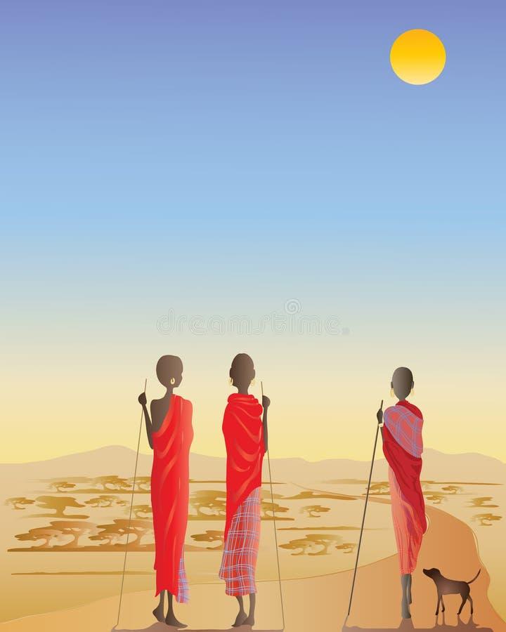 Homens do Masai em uma trilha de sujeira ilustração stock
