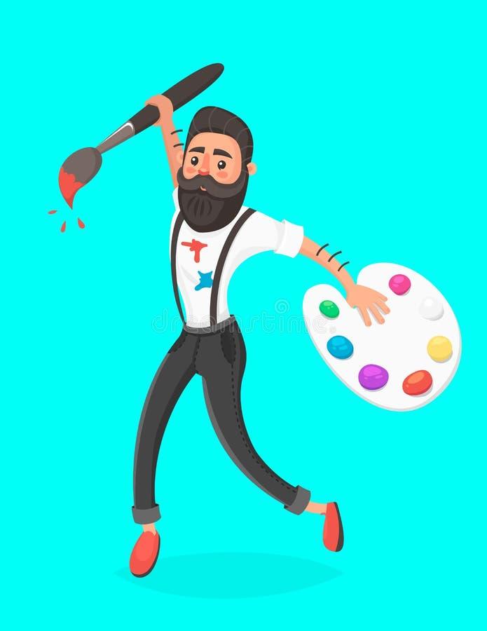 Homens do moderno com salto da escova e da paleta de pintura Pensamento creativo Idéia do conceito Ilustração do vetor no estilo  ilustração do vetor