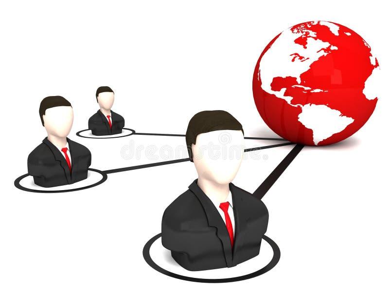 Homens e globo tridimensionais de negócio ilustração stock
