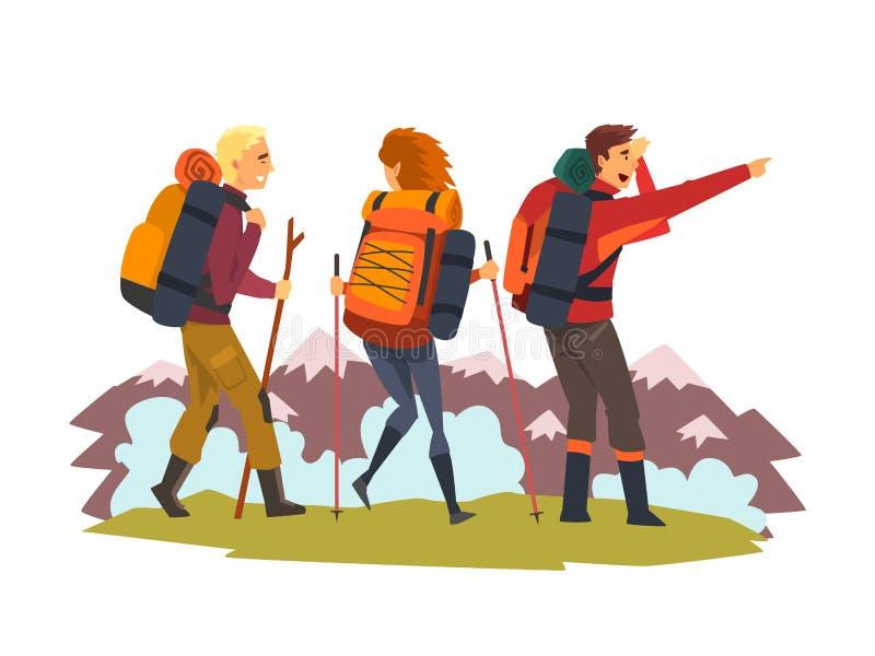 Homens e mulher que viajam junto, turistas que caminham nas montanhas, aventura do verão e ilustração do vetor da exploração ilustração do vetor