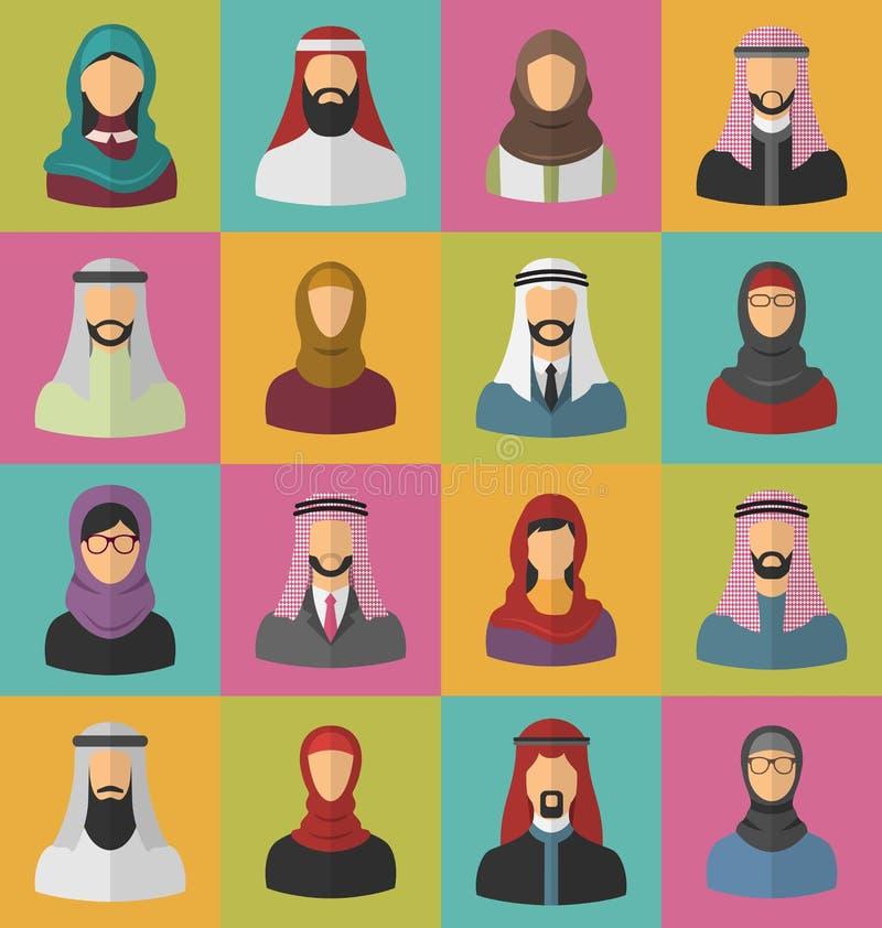Homens e mulheres árabes ajustados ilustração royalty free