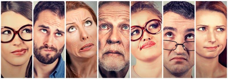 Homens e mulheres de vista duvidosos confusos imagens de stock