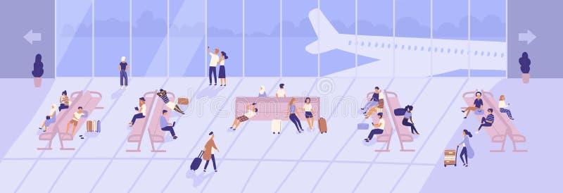 Homens e mulheres dentro da construção terminal de aeroporto com as grandes janelas e os aviões panorâmicos vistos através deles  ilustração stock