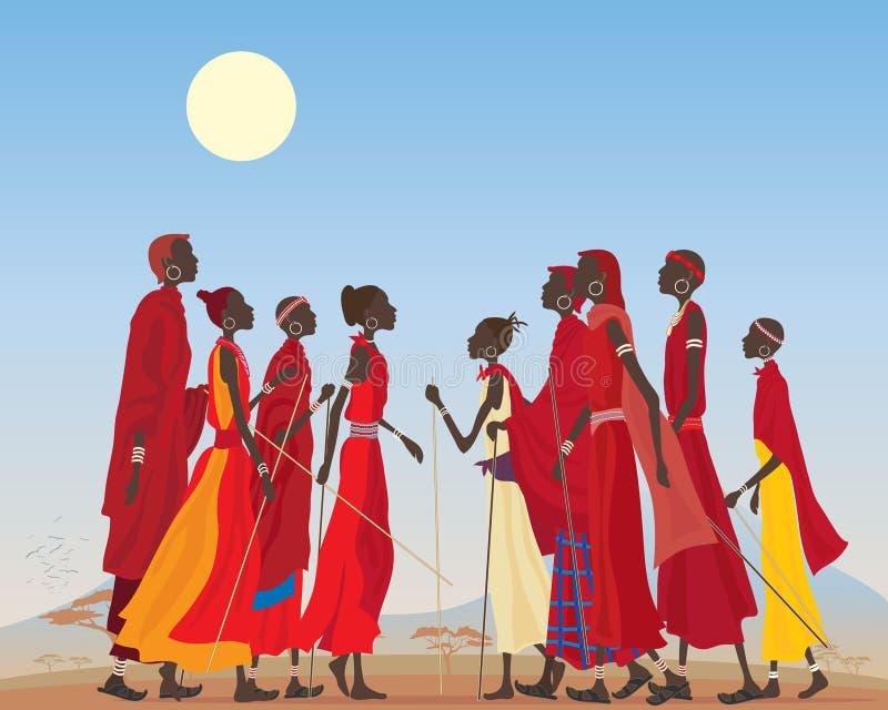 Homens e mulheres do Masai ilustração stock