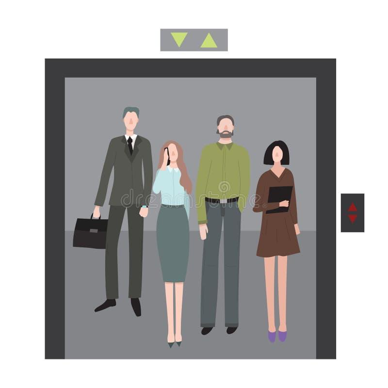 Homens e mulheres dos caráteres dos trabalhadores de escritório dos desenhos animados no elevador Vetor ilustração do vetor