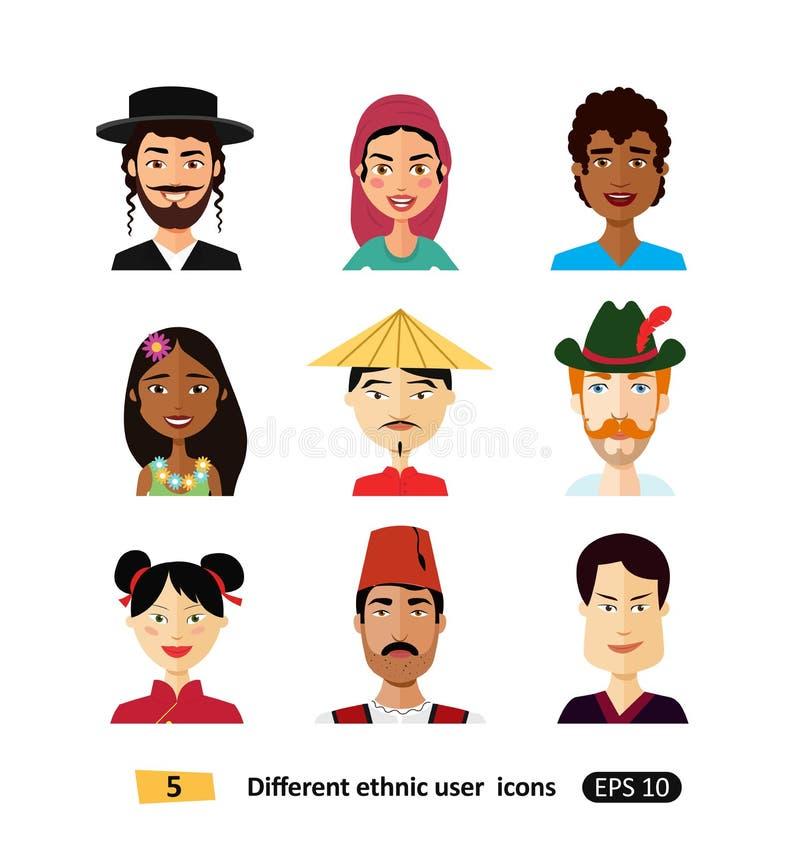 Homens e mulheres internacionais dos povos dos ícones lisos nacionais multiculturais dos usuários dos avatars dos povos no vetor  ilustração do vetor