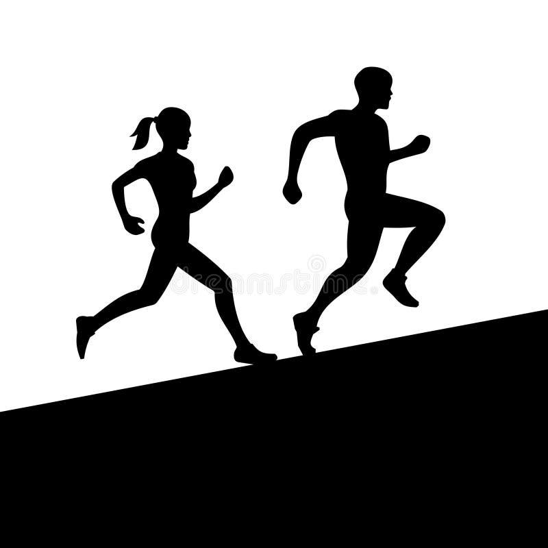 Homens e mulheres que correm a silhueta Vetor ilustração stock