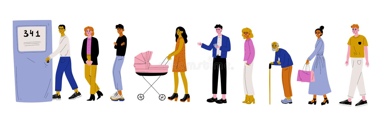 Homens e mulheres vestidos na roupa ocasional que está na linha ou na fila perto da ilustração do vetor da porta ilustração royalty free