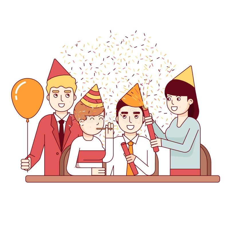 Homens e pessoal de negócio a um partido incorporado do divertimento ilustração stock