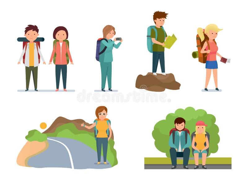Homens e viajantes das mulheres com as trouxas em várias situações ilustração stock