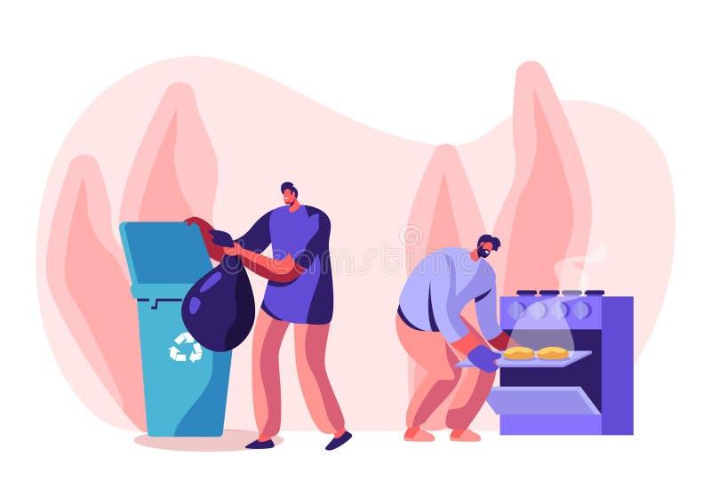 Homens em atividades do agregado familiar Caráteres masculinos que limpam a casa Cozinhar coze no forno, joga o lixo em reciclar  ilustração royalty free
